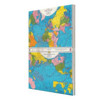 War map Atlantic, Eurasia, Africa, Pacific Ocean Canvas Print