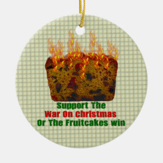 War On Fruitcakes Round Ceramic Decoration
