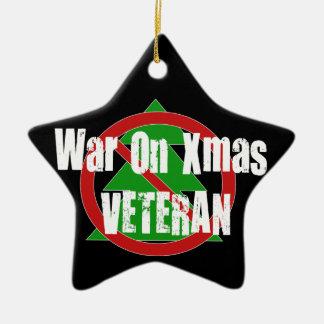 War On Xmas Veteran Double-Sided Star Ceramic Christmas Ornament