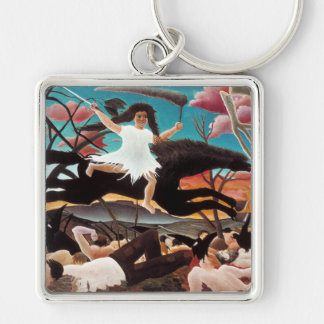 War or the Ride of Discord, Henri Rousseau Silver-Colored Square Key Ring