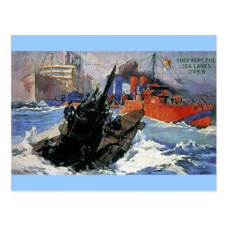 War Sea Ship Submarine poster Postcard