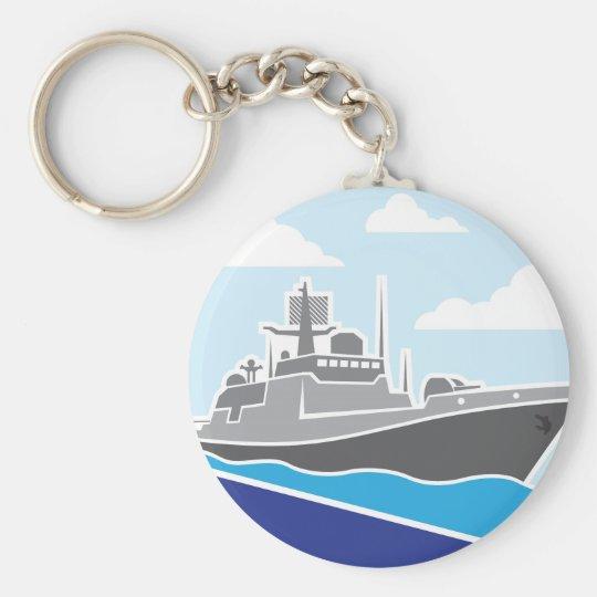 War Ship Basic Round Button Key Ring
