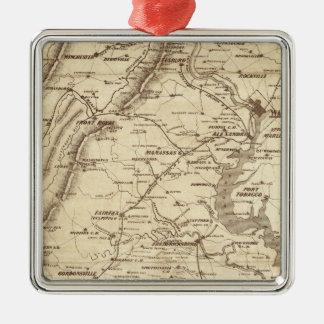 War Telegram Marking Map Silver-Colored Square Decoration