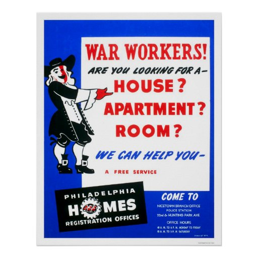 War Workers Philadelphia 1942 WPA Poster