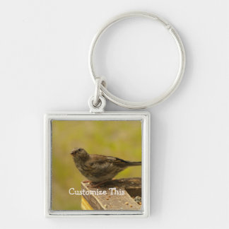 Warbler on a Snacky Perch Silver-Colored Square Key Ring