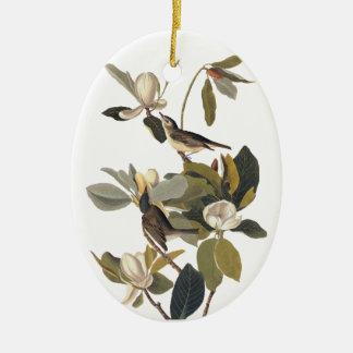 Warbling Flycatcher Kingbirds Vintage Audubon art. Ceramic Oval Decoration