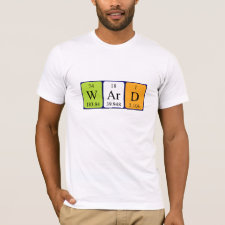 Shirt featuring the name Ward spelled out in symbols of the chemical elements