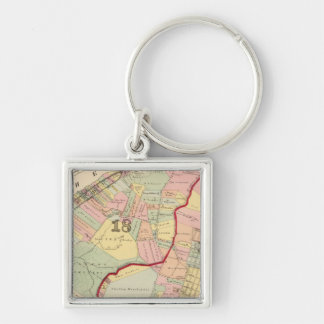 Wards 1819 of Pittsburgh, Pennsyvania Silver-Colored Square Key Ring