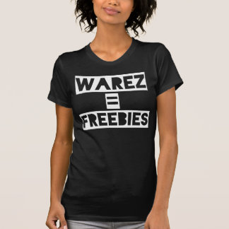 Warez = Freebies black. Women's white t-shirt. T-Shirt