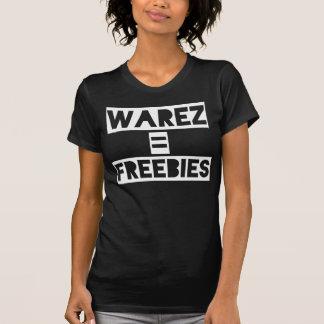 Warez = Freebies black. Women's white t-shirt.