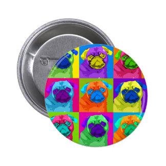 Warhol inspired Pug Button