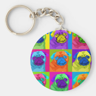 Warhol inspired Pug Keychain