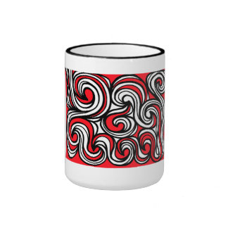 Wariner Abstract Expression Red White Black Ringer Mug