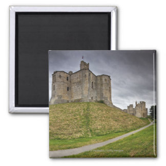 Warkworth Castle in Northumberland, England Square Magnet