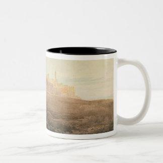 Warkworth Castle, Northumberland, c.1798 (w/c, gou Two-Tone Coffee Mug