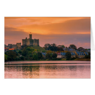 Warkworth Village and Castle at sunset Greeting Card