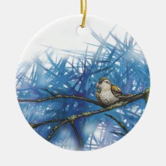 warlike bird round ceramic decoration