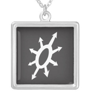 Warlords of Chaos -  Black on White Square Pendant Necklace