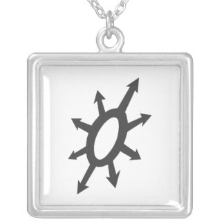 Warlords of Chaos - White on Black Square Pendant Necklace