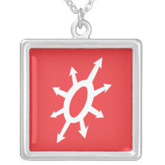 Warlords of Chaos - White on Red Square Pendant Necklace