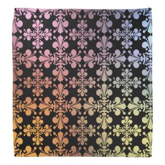 Warm and cool colors geometric fleur de lis damask bandana