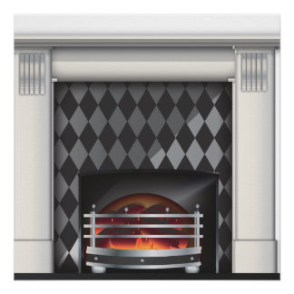 Warm and cosy Fireplace Poster