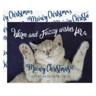 Warm and Fuzzy Sleeping Meowy Christmas Cat Card