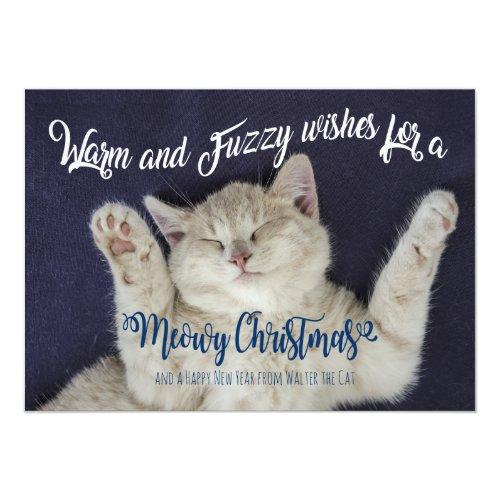 Warm and Fuzzy Sleeping Meowy Christmas Cat Card