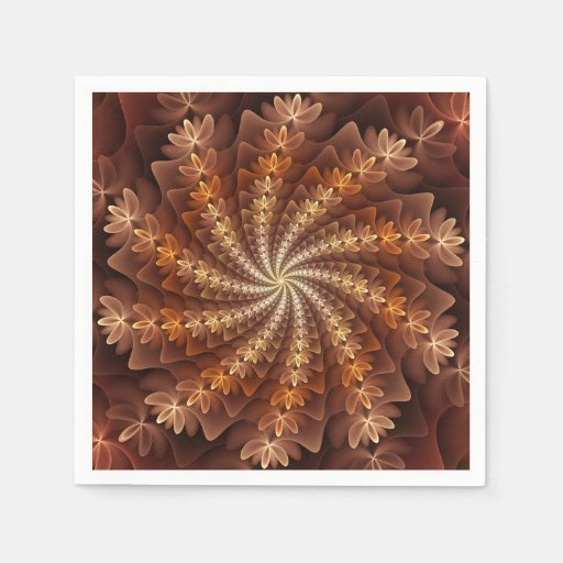 Warm Autumn Colours, Modern Abstract Fractal Art Disposable Napkin