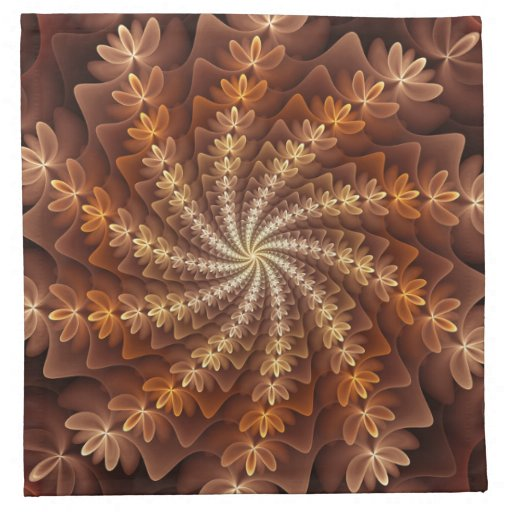 Warm Autumn Colours, Modern Abstract Fractal Art Napkin