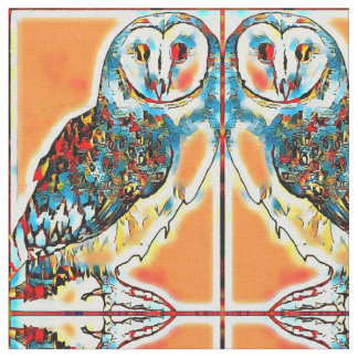 Warm Barn Owl Mirrored Tiles Fabric