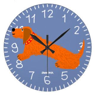 Warm Blue Art Clock: John Dyer Sausage Dog Design Large Clock