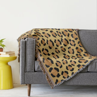 Warm Brown and Gold Leopard Print Throw Blanket