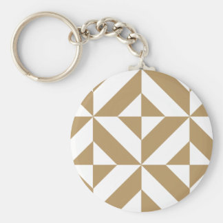 Warm Brown Geometric Deco Cube Pattern Keychains