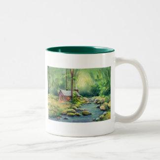 WARM CABIN by SHARON SHARPE Two-Tone Coffee Mug