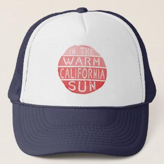 Warm California Sun Vintage Typography Coral Trucker Hat