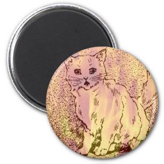 Warm Cat Artwork 6 Cm Round Magnet
