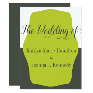 Warm Charcoal Bracket  Elegant Minimalist Wedding Card