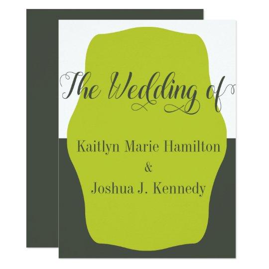 Warm Charcoal Bracket  Elegant Minimalist Wedding Card