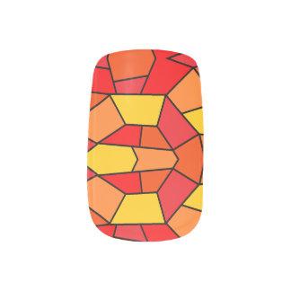 Warm Colored Square Pattern Minx Nail Art