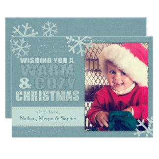 Warm & Cozy Christmas Faux Felt/Embroidered Custom 13 Cm X 18 Cm Invitation Card