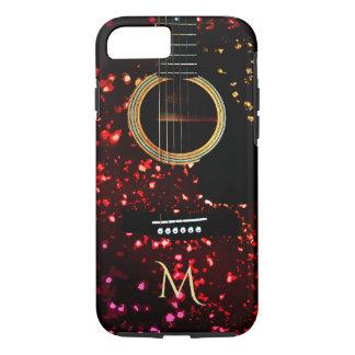 Warm Dark Glittery Guitar Monogram iPhone 7 Case