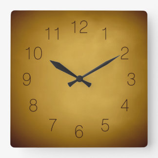 Warm Earth Colors Gold Yellow Ocher Rich Red Brown Square Wall Clock