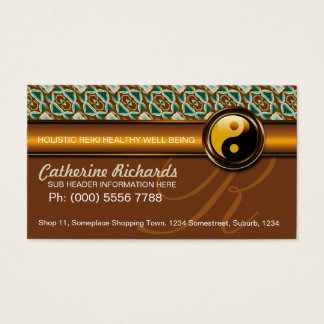 Warm Earth Reiki Yin Yang Gold Business Cards