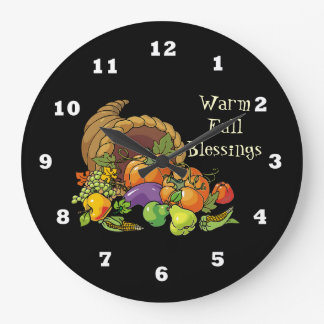 Warm Fall Blessings wall clock