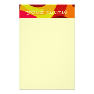Warm Fall Colored Camo Swirl Design Your Name Personalized Stationery