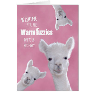 Warm Fuzzies on Your Birthday with Cute Llamas Greeting Card