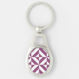 Warm Grape Geometric Deco Cube Pattern Silver-Colored Oval Metal Keychain