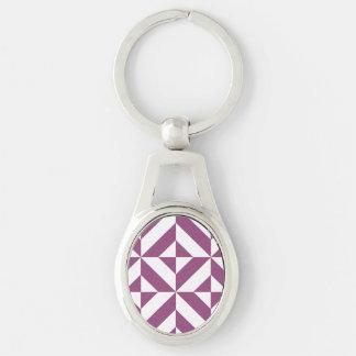 Warm Grape Geometric Deco Cube Pattern Silver-Colored Oval Key Ring