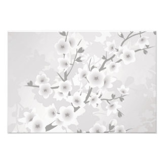 Warm Gray Cherry Blossoms Photo Print